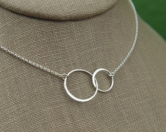 SALE 15% OFF Large entwined rings necklace in sterling silver, two linked circles, interlocking circles, mother daughter sister gift