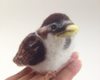 Baby Sparrow Felt Bird Soft Sculpture Needle-felt Animal