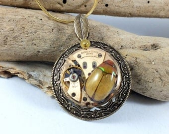 Clockwork Christmas - real Christmas Beetle, steampunk necklace