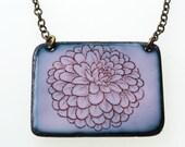 Flower Necklace. Dahlia Flower on Pink Enamel Pendant Necklace. Vitreous Enamel Jewelry