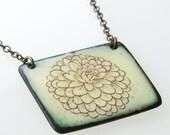 Flower Necklace. Dahlia Flower on Yellow Enamel Pendant Necklace. Vitreous Enamel Jewelry.