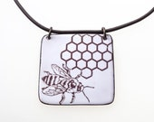 Bee Necklace. Honey Bee and Honeycomb on White Enamel Necklace on Leather. Vitreous Enamel Jewelry