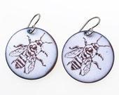 Bee Earrings. Honey Bee on White Enamel Circle Earrings on Titanium Ear Wires. Vitreous Enamel Jewelry.
