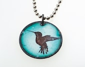 Bird Necklace. Hummingbird on Green Enamel Pendant on Stainless Steel Ball Chain Necklace. Vitreous Enamel Jewelry.