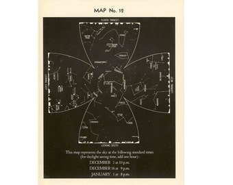 1942 DECEMBER CONSTELLATION CHART star map original vintage celestial astronomy print