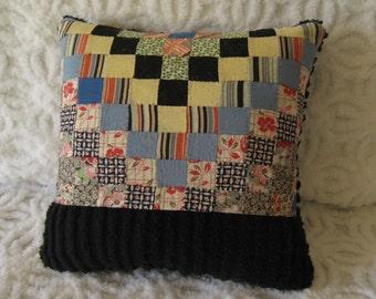 Primitive Patchwork and Black Chenille Pillow - Bright Colors