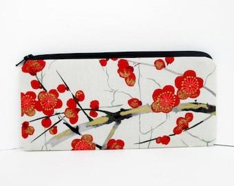 Pencil Pouch Zippered, Asian Cherry Blossoms, Gray Money Purse