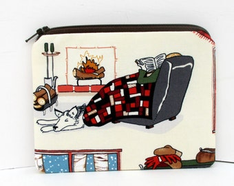 Small Zipper Pouch, Winter Pleasure Reading, Fireplace, Dog, Books Coin Purse