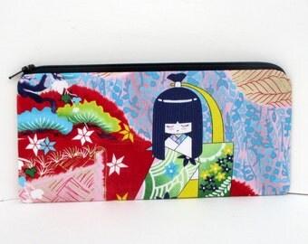 Long Zipper Pencil Pouch,  Japanese Geisha Dolls, Asian Bag