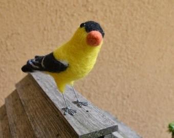 Mr. American Goldfinch, needlefelted bird art