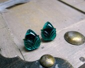 The Emerald Forest. Emerald Green glass acorn cabochon and titanium post stud earrings