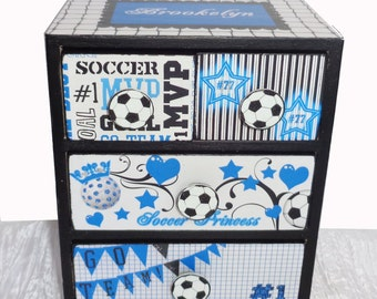 Girls Jewelry Box Soccer Princess Personalized Colors can be changed to match her team