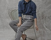 Winter Sale 15% Off!!! Grey tying stone washed denim cotton baggy pants