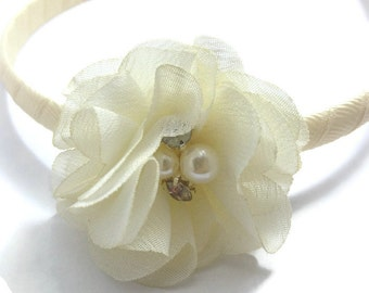 "Ivory Wrapped 9mm Headband 2"" Chiffon Hair Flower Set - Wrapped 1/4"" Headband - Handmade"