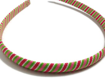 Pink & Green Stripes Headband -Handmade To Order
