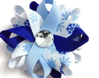 Light & Dark Blue Snowflake Hair Bows