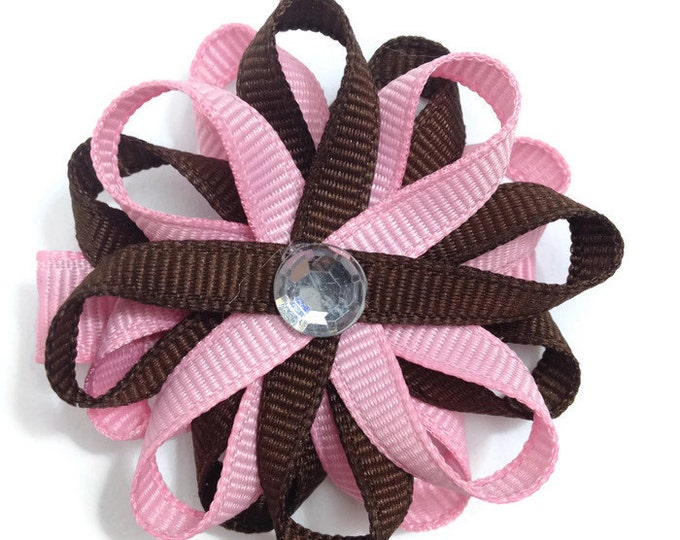 Pink & Brown Hair Bows, Loopy Hair Bows