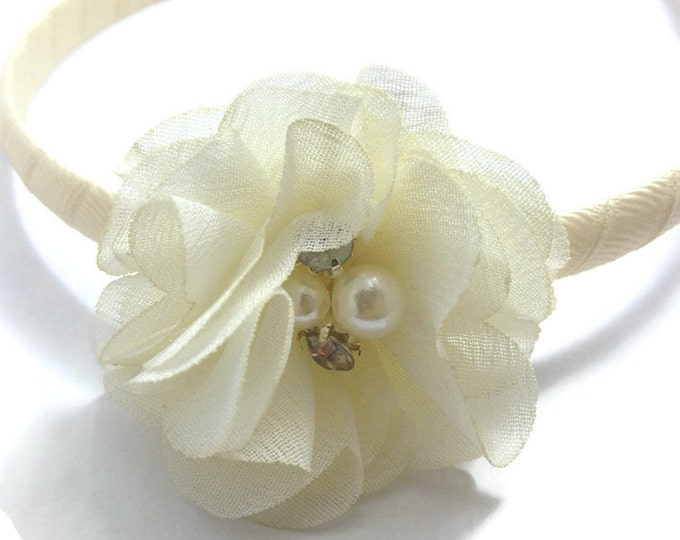 Ivory Chiffon Hair Flower Headband -Handmade To Order