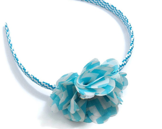 Light Blue Chevron Print Chiffon Hair Flower Headband