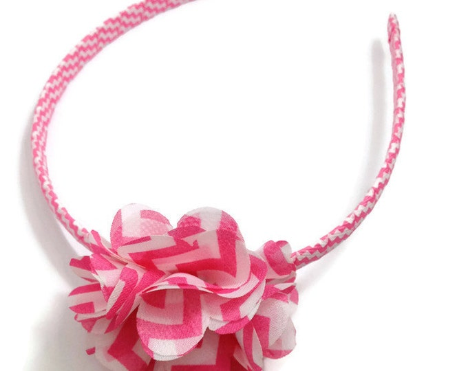 Hot Pink Chevron Print Hair Flower Headband