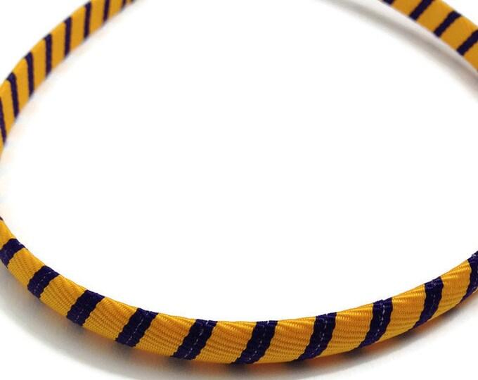 Purple, Yellow Gold Stripes Headband - Handmade To Order