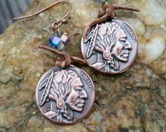 Rustic boho native American Indian chief earrings