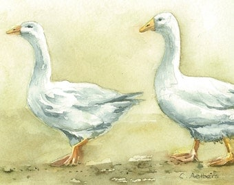 Painting of Two Geese -  4 x 6 inches Original Watercolor