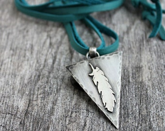 Silver Feather Pendant, Long Leather Lace Necklace