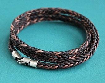 Mens Triple Wrap Bracelet, Brown Leather Braid, Sterling Silver Clasp
