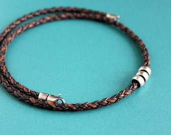 Mens Leather Braid Necklace, Sterling Silver Beads