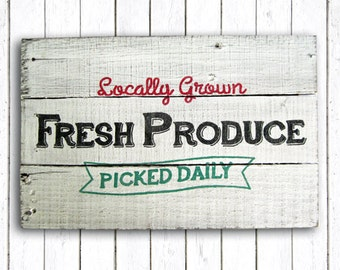 Fresh Produce Hand Painted Wood Sign