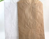 25 Embossed Paper Bags, Glassine Bags, Choice of Sizes, Christmas Cookie Bags, Gift Wrapping, Silverware Bags, Candy Bags, Party Supplies