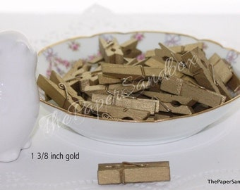 "Gold Clothespins, 1.5"" Gold Clothespins, Gold Bag Clips, Party Supplies, Photo Clips, Banner Clips, Small Gold Clothespins"