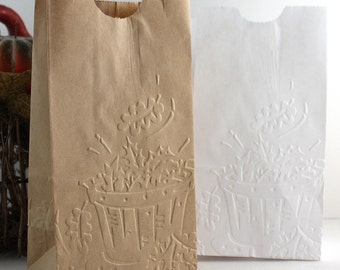 Embossed Flat Bottom Paper Bags, Autumn Leaves, Fall Favor Bags, Party Supplies, Gift Bags, Thanksgiving Favors, Candy Bags, Treat Bags