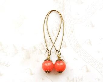 Coral Pink Earrings, Long Dangle Earrings, Gemstone Drop Jewelry, 12mm diameter, Brass Ear Wires, Retro Style, Fun Color Rockabilly Style