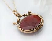 Carnelian Antique Fob Pendant | Oval Victorian Fob Ornament | Intaglio Roman Centurion | Gold Filled Fob Necklace - 20 Inch Chain Included