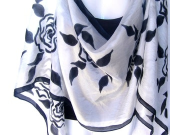 """Hand Painted Silk Scarf, Black Roses, Floral, Black White Silk Scarf, 71"""" x 18"""", Gift For Her"""
