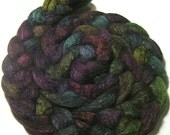 BFL & tussah silk hand dyed roving - hand painted spinning felting fiber - 4.8 oz Anticipating Autumn - dyed wool fiber