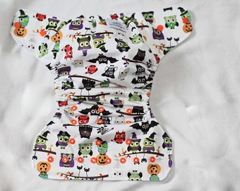SALE Halloween OWLS Diaper Cover- Halloween- Owls- Spooky- Witch- Mummy- Frankenstein- Scary- Fall- Holiday- cloth diaper cover