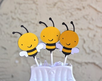 Buzzy Bee cupcake toppers set of 12