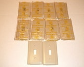 10 Ribbed IVORY  Light Switch Plate Covers ,1940s, Single Electrical Light Covers, Most never used ,Like New made in USA ,Uniline
