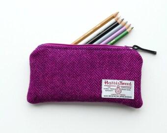 Pink and magenta HARRIS TWEED Herringbone Pencil Case