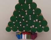 Cork Christmas Tree - white pearl- table decor - Winter- natural cork