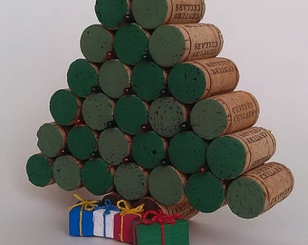 Cork Christmas Tree -plastic bulbs- table decor - Winter- natural cork