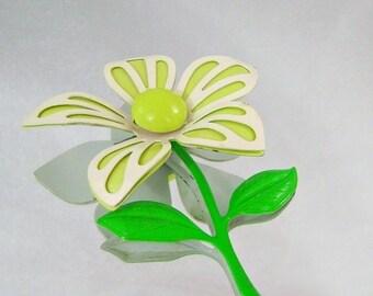 FALL SALE Vintage Flower Brooch 70s Retro Mod Flower Power Lime Green, Cream White