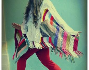 Upcycled White Arran Knit & Stripey Handknit Hoody Fringed Cape Poncho