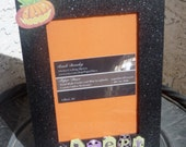 Cute and sparkly Halloween frame 4 X 6, Halloween, festive, creepy, October 31st, Hallow's Eve, Pumpkins, Ghosts, frogs, creepy, photo frame