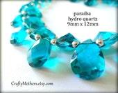 PARAIBA TEAL Blue Hydro Quartz Faceted Pear Briolettes Trio, (1) Matched Pair,  (1) Focal, 9x12mm