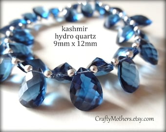 KASHMIR BLUE Quartz Faceted Pear Cut Stone Briolettes Trio, (1) Matched Pair and (1) Focal, 9mm x 12mm, blue grey, DIY jewelry supplies