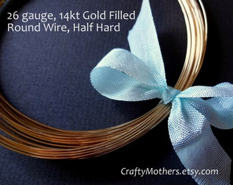 15 feet, 26 gauge 14kt Gold Filled Wire - Round, HALF HARD, 14K/20, wire wrapping, earrings, necklace, precious metals